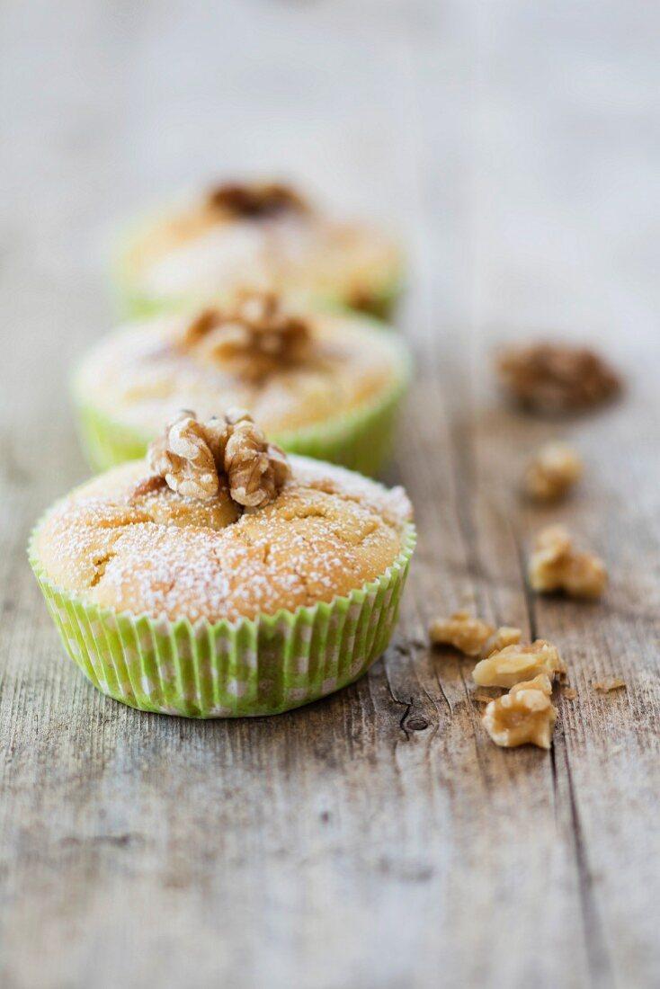 Gluten-free vegan apple and nut muffins