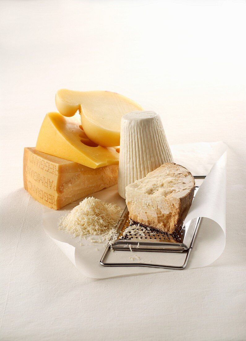 Various types of cheese with a grater