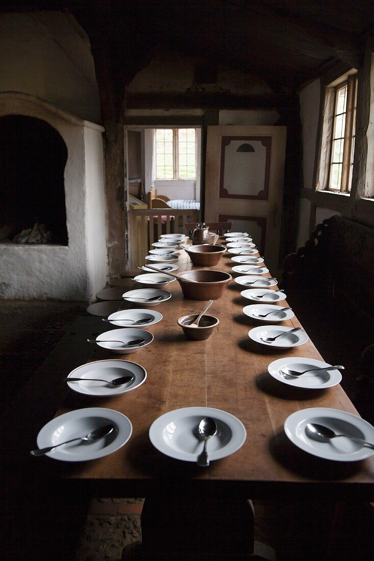 A table laid in a country house