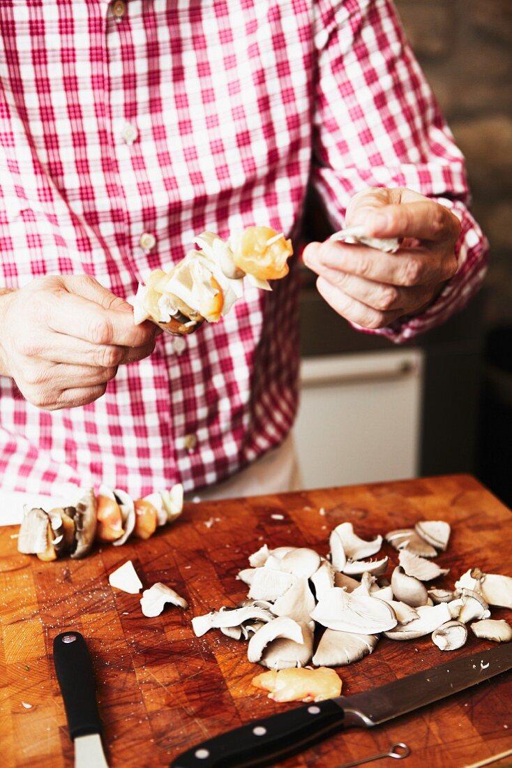 Mushroom kebabs being made