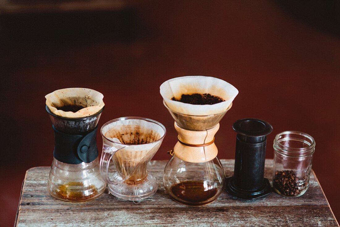 An arrangement of various coffee makers