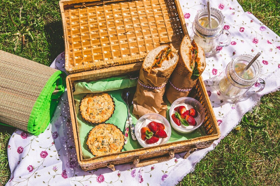 A picnic basket in the grass