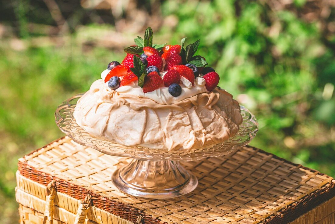 Pavlova with summer berries on a cake stand in a garden
