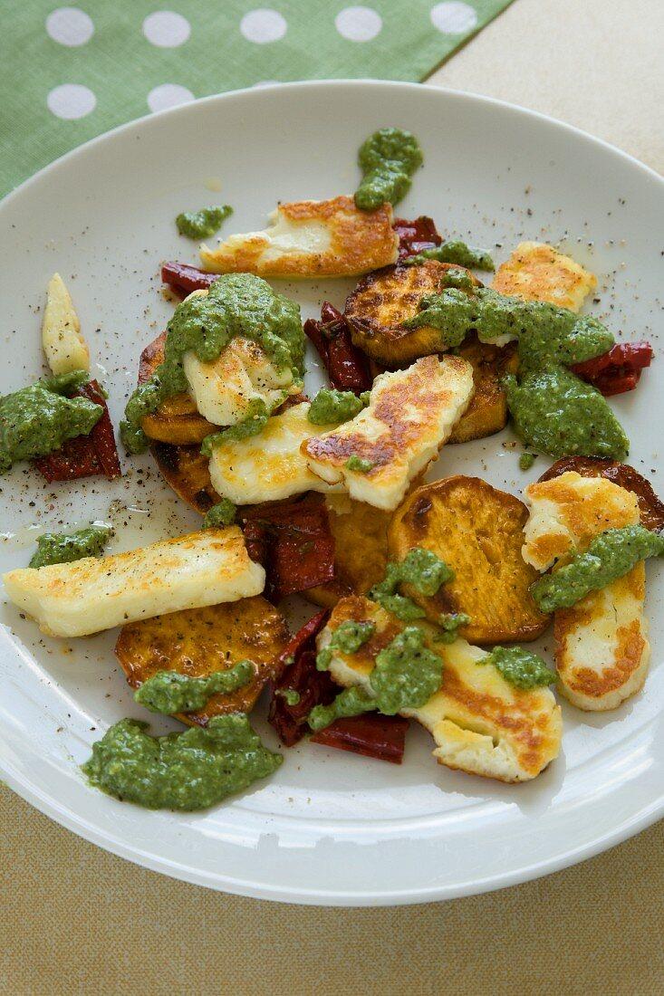 Sweet potatoes and halloumi with stinging nettle pesto