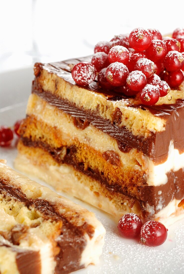 Chocolate and vanilla desert with redcurrants