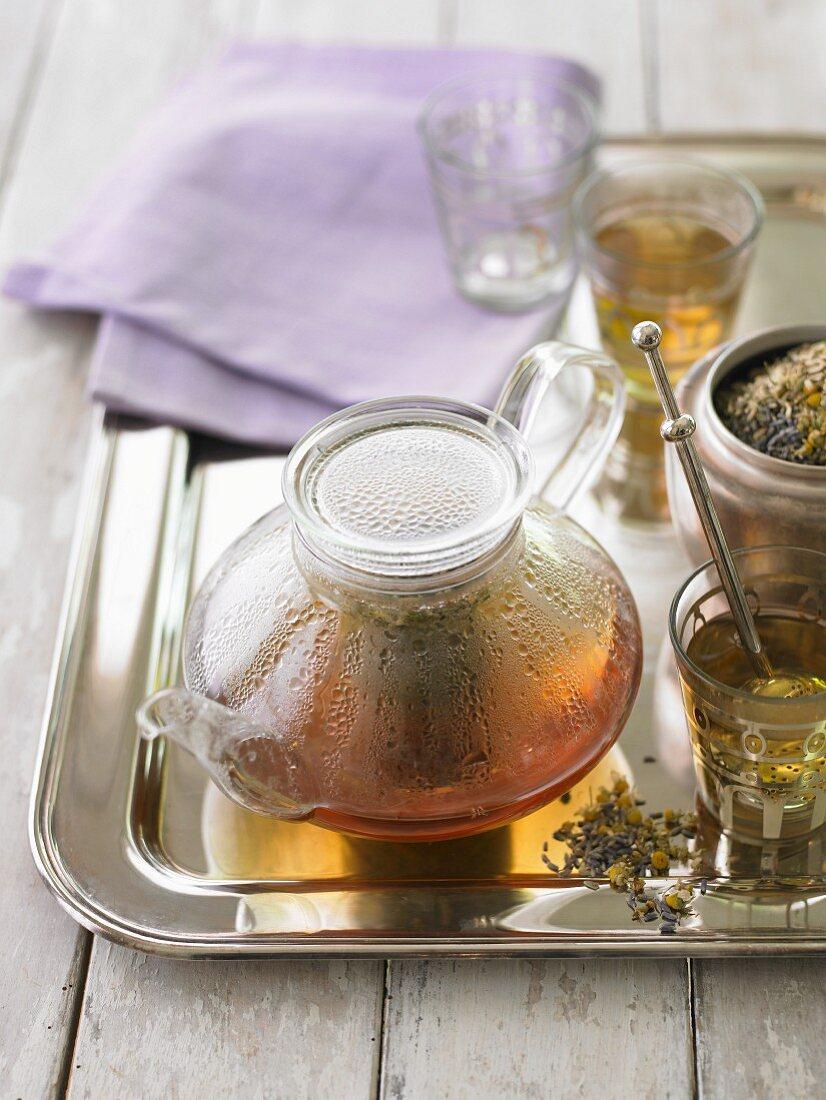 Bedtime tea in a glass pot