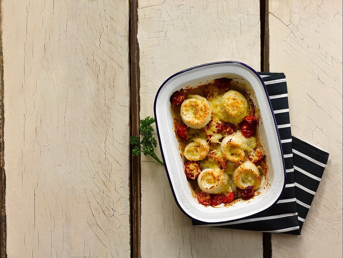 Brill rolls with a caerphilly and tomato bake