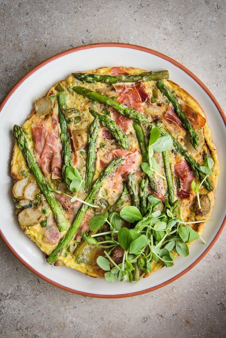 Ham and asparagus frittata