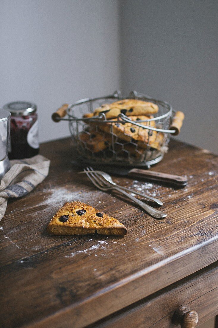 Blueberry scones on a rustic chest of drawers