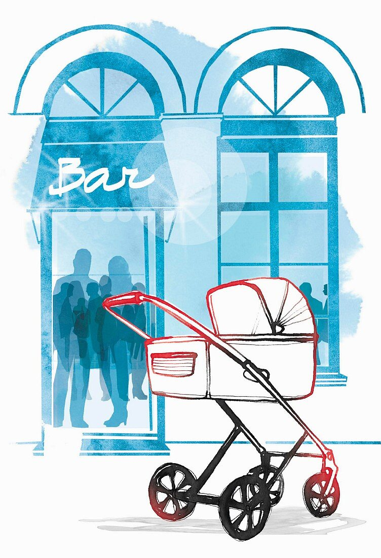 A pram standing outside a bar (illustration)