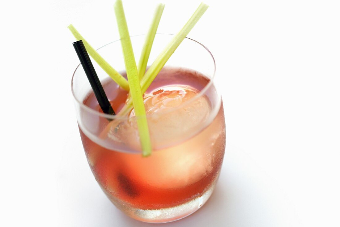 Night Over cocktail in a glass with ice cubes