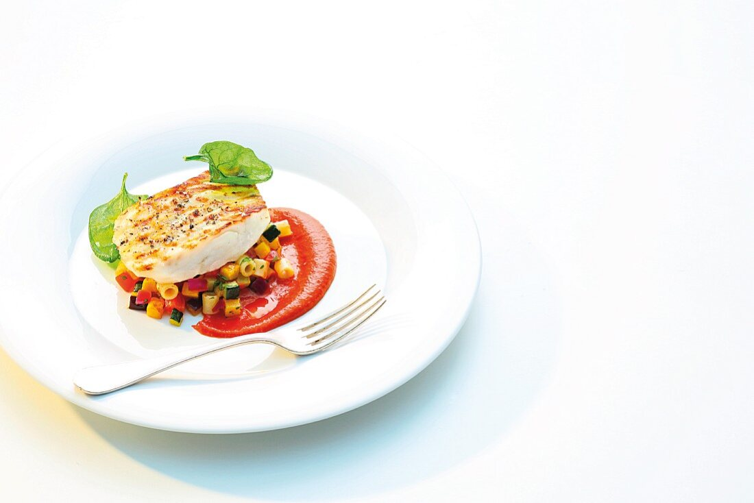 Grilled halibut with BBQ sauce and a colourful pasta salad