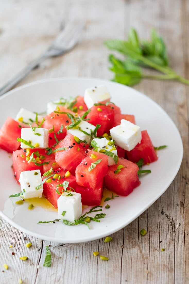 Watermelon salad with sheep cheese
