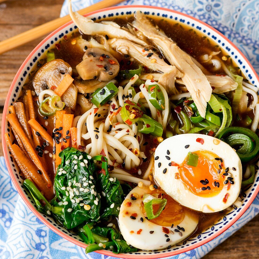 Ramen noodle soup with chicken and boiled eggs (Asia)