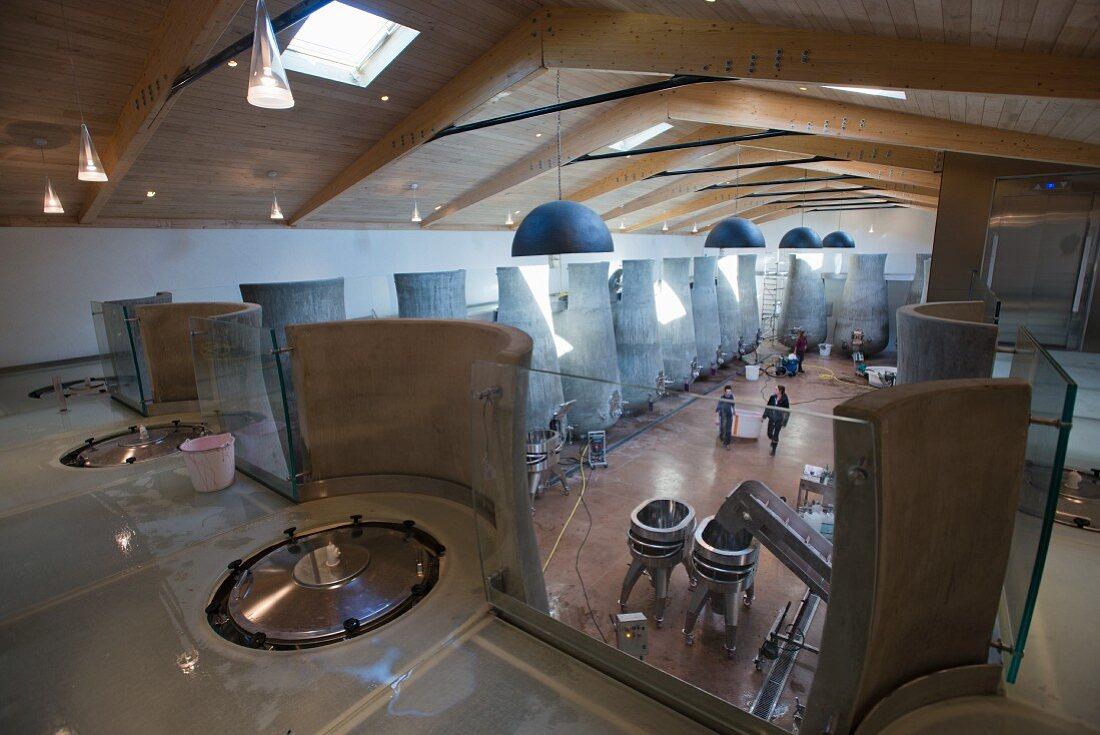 Modern concrete tanks in a vinification cellar (Beauregard, France)