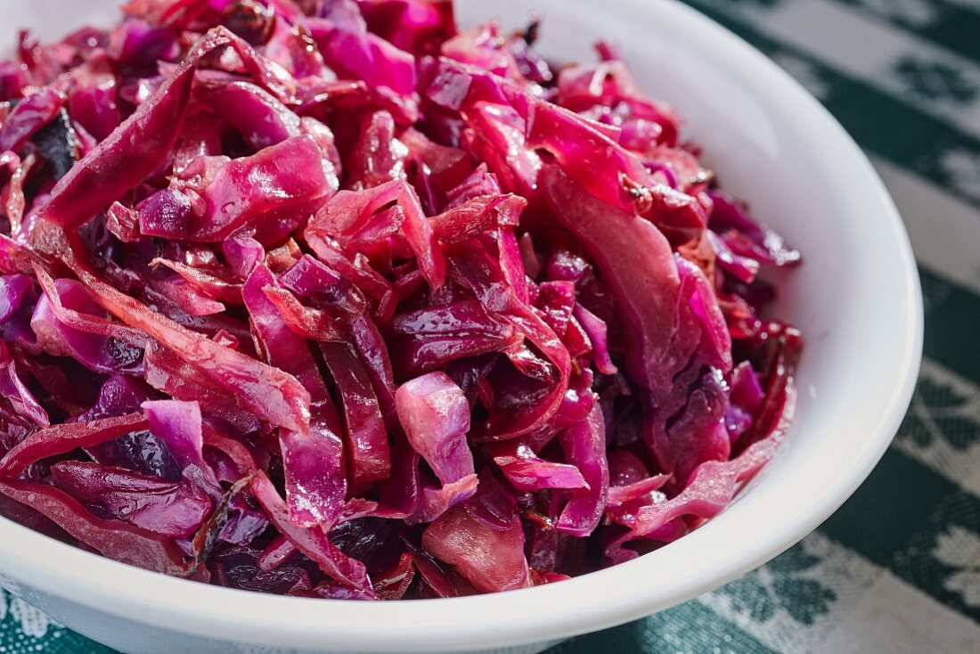 Sautéed red cabbage with caraway seeds