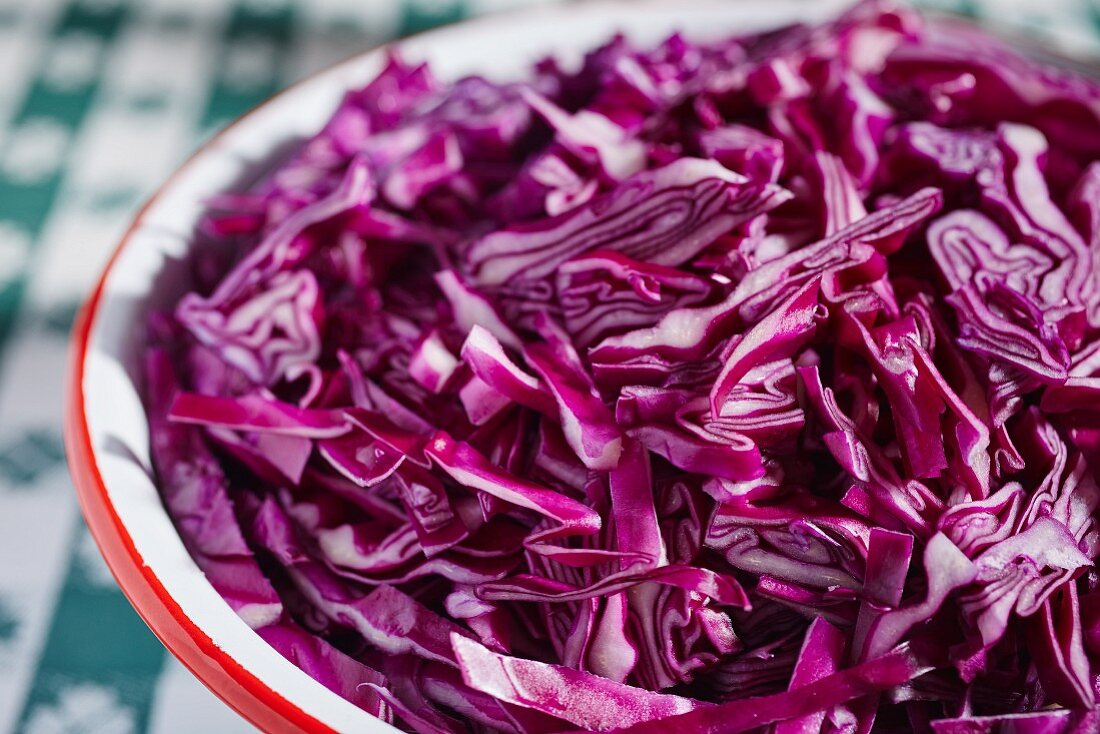 Fresh red cabbage, sliced