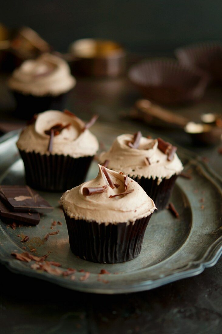 Chocolate cupcakes with grated chocolate