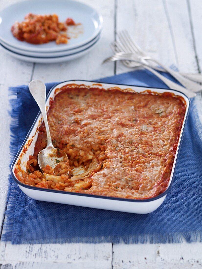 Tomato & Mozzarella Baked Rice