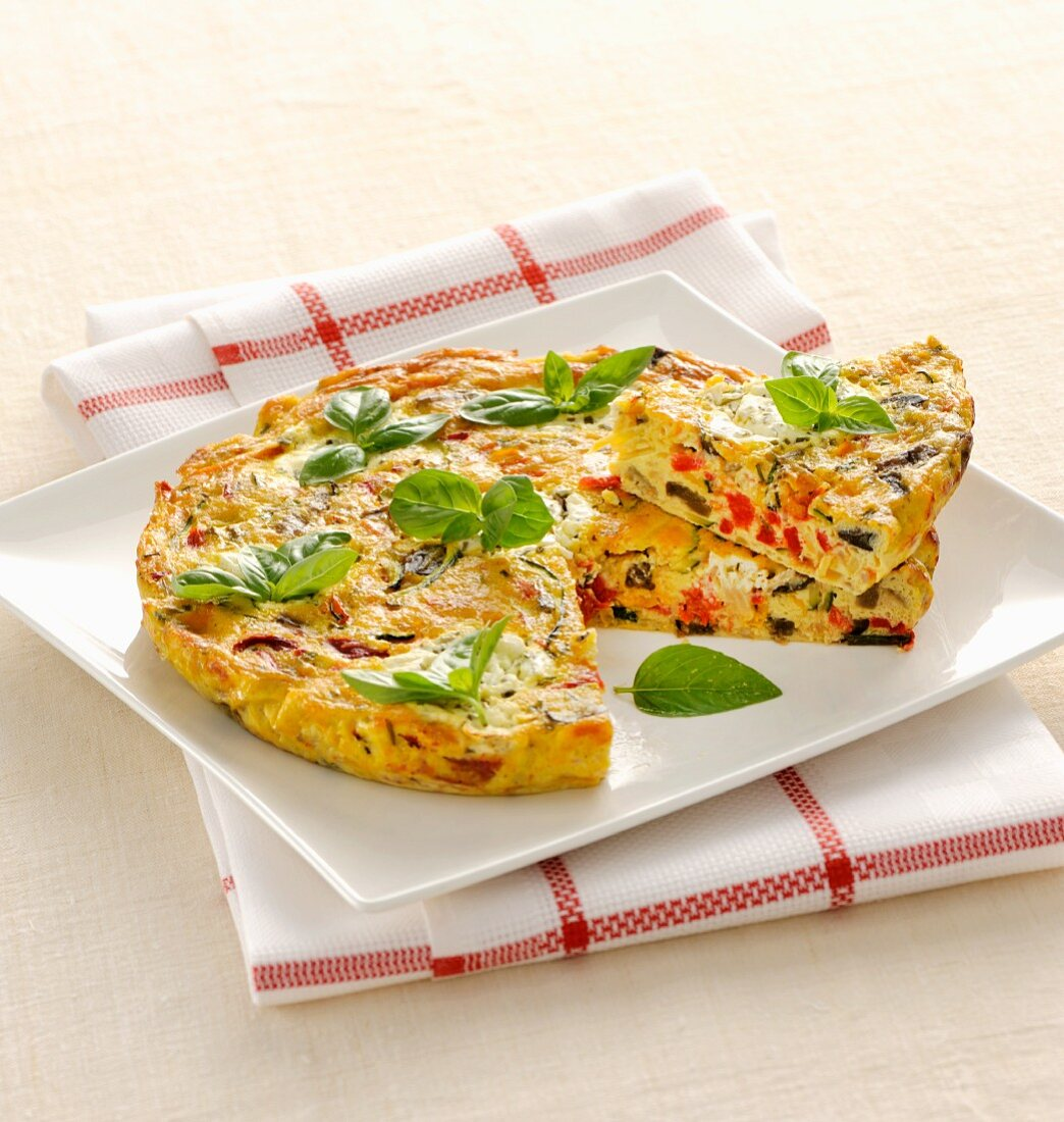 Colourful vegetable frittata with basil