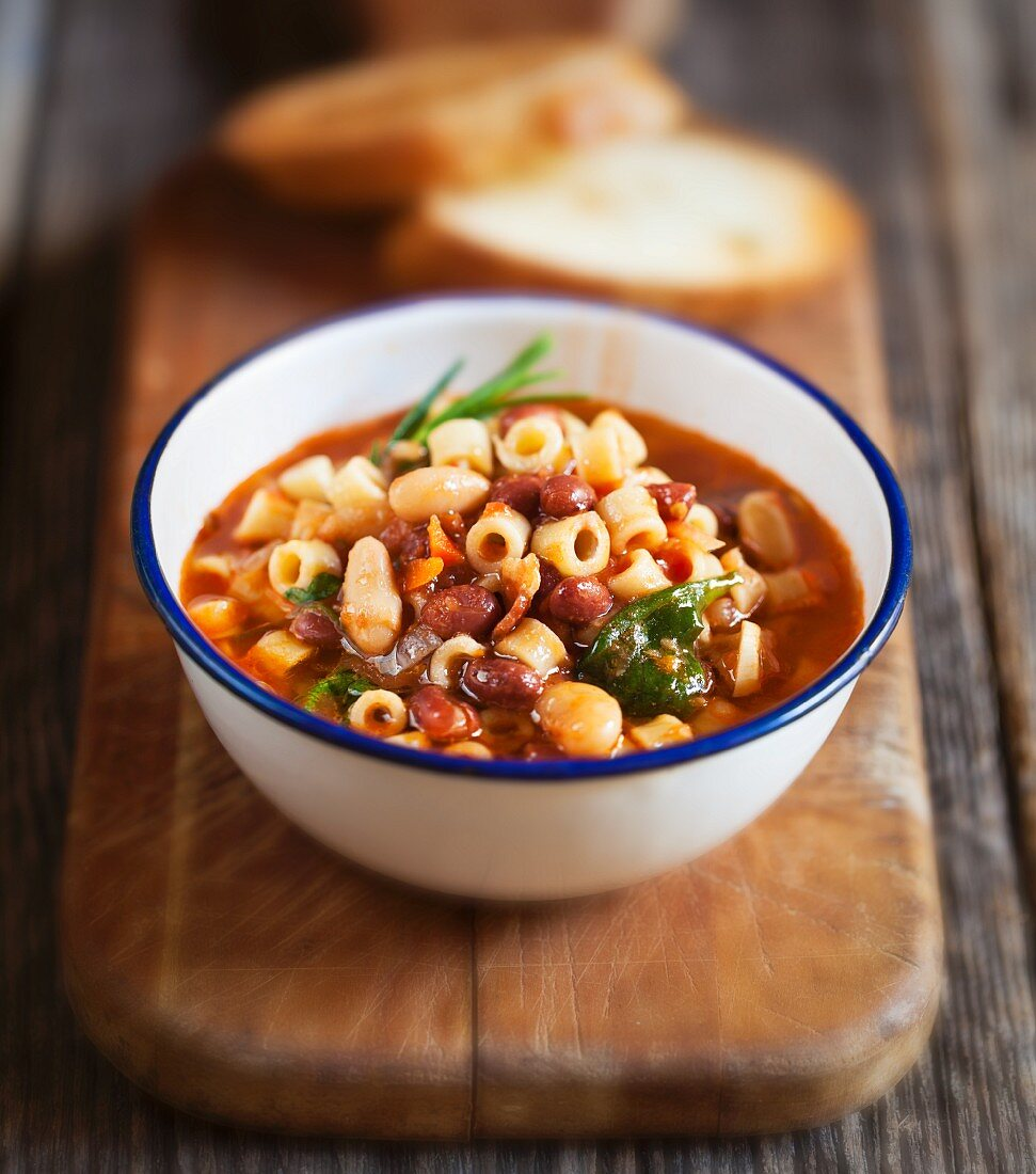 Bean soup with ditalini pasta