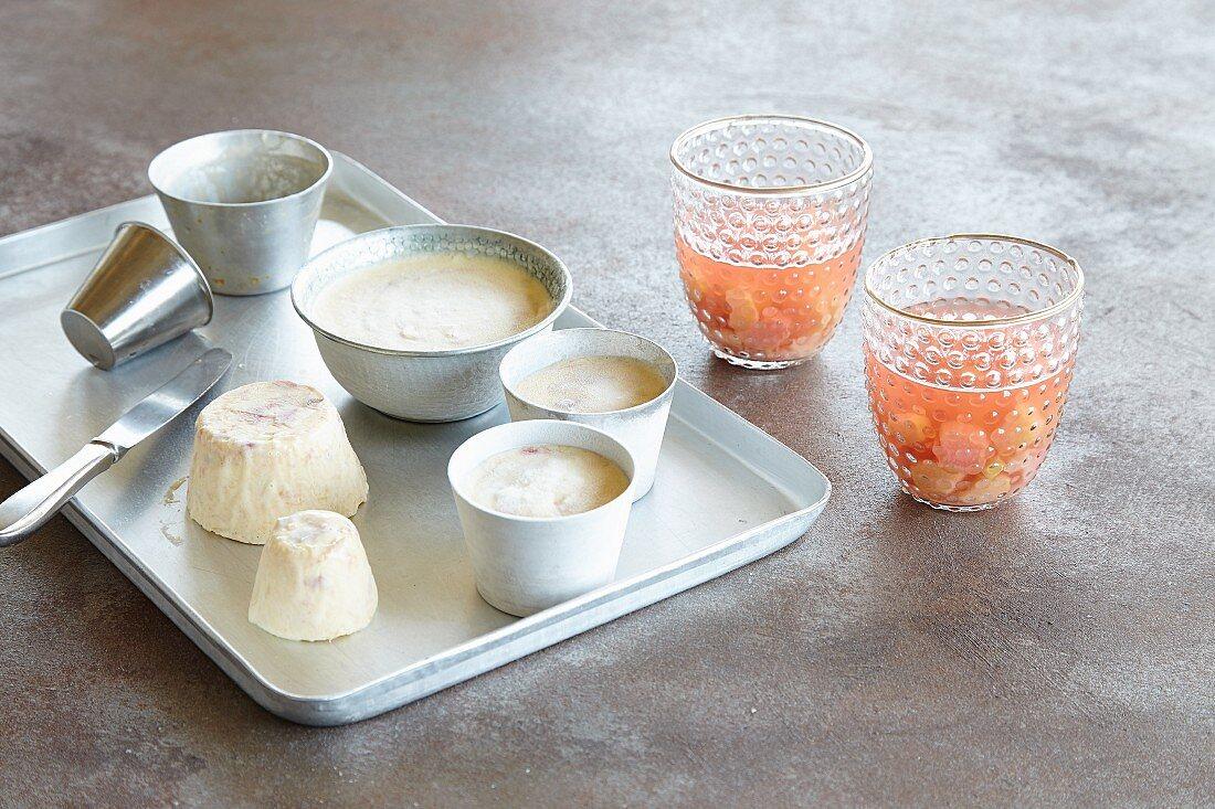 Yoghurt parfait and rhubarb jelly