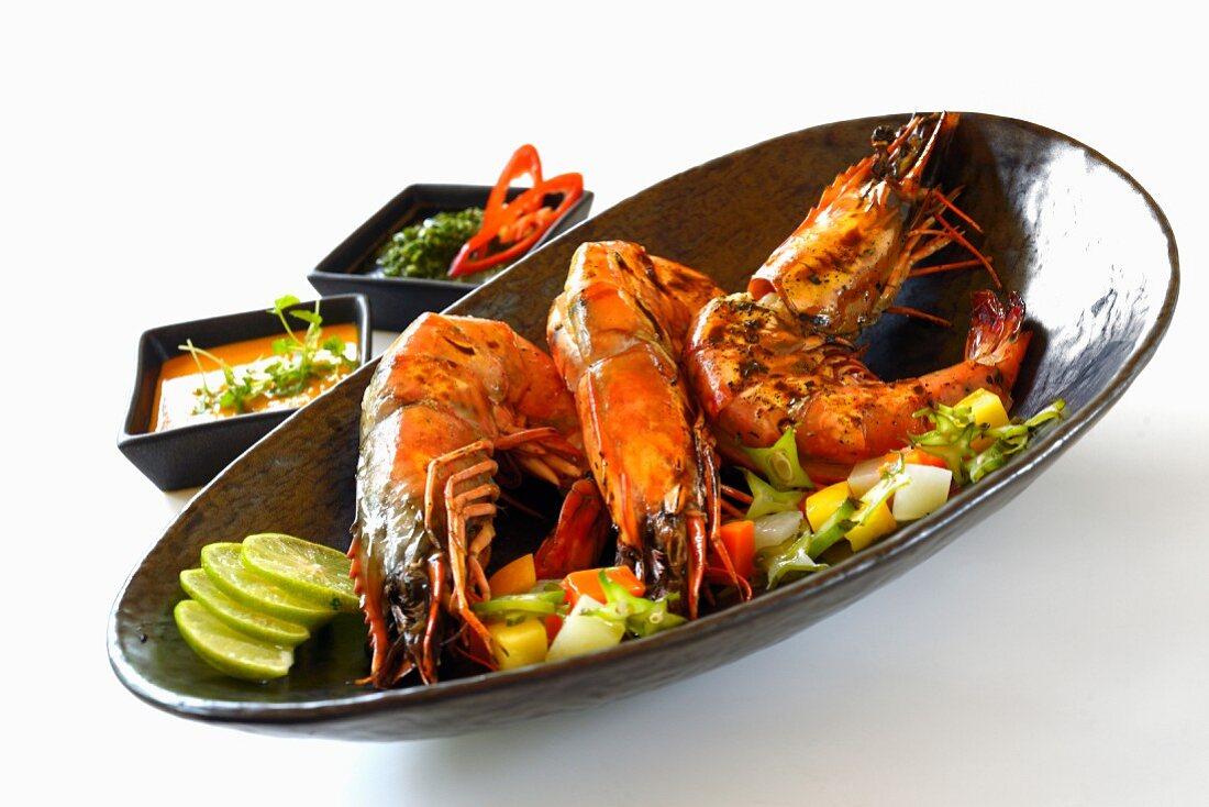 Grilled king prawns
