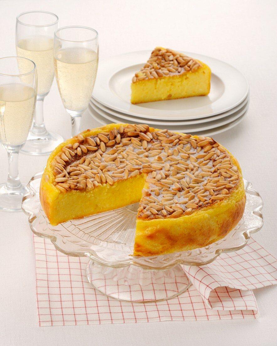 Torta di polenta gialla (polenta cake with pine nuts, Italy)