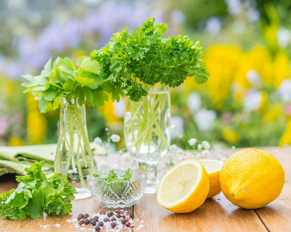 Glatte und Krause Petersilie in Glasgefässen, Zitrone und Gewürze im Vordergrund