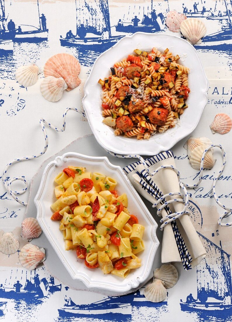 Fusilli with meat dumplings and aubergines, and pasta with potatoes and stock fish