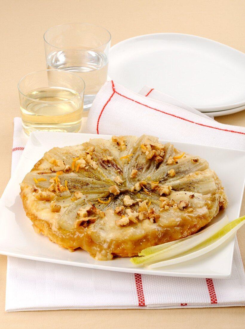Chicory tarte tatin with walnuts