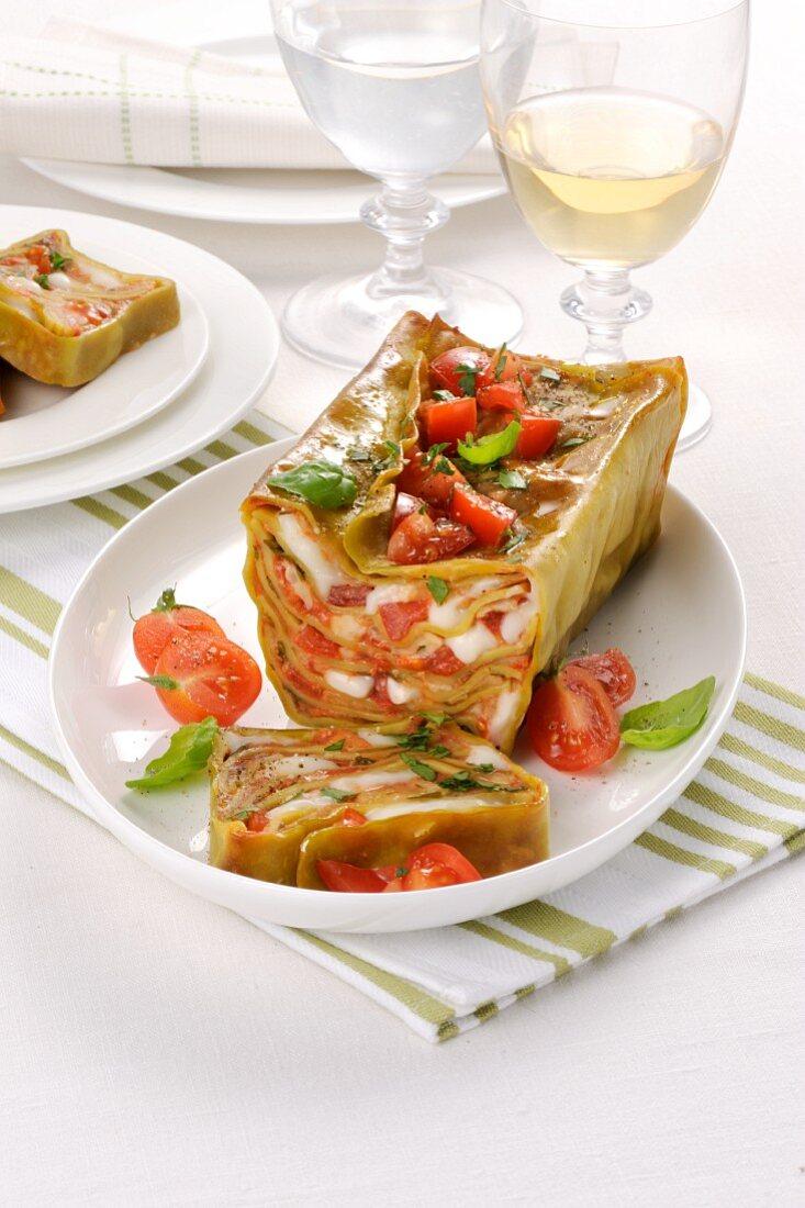 Tomato and mozzarella terrine