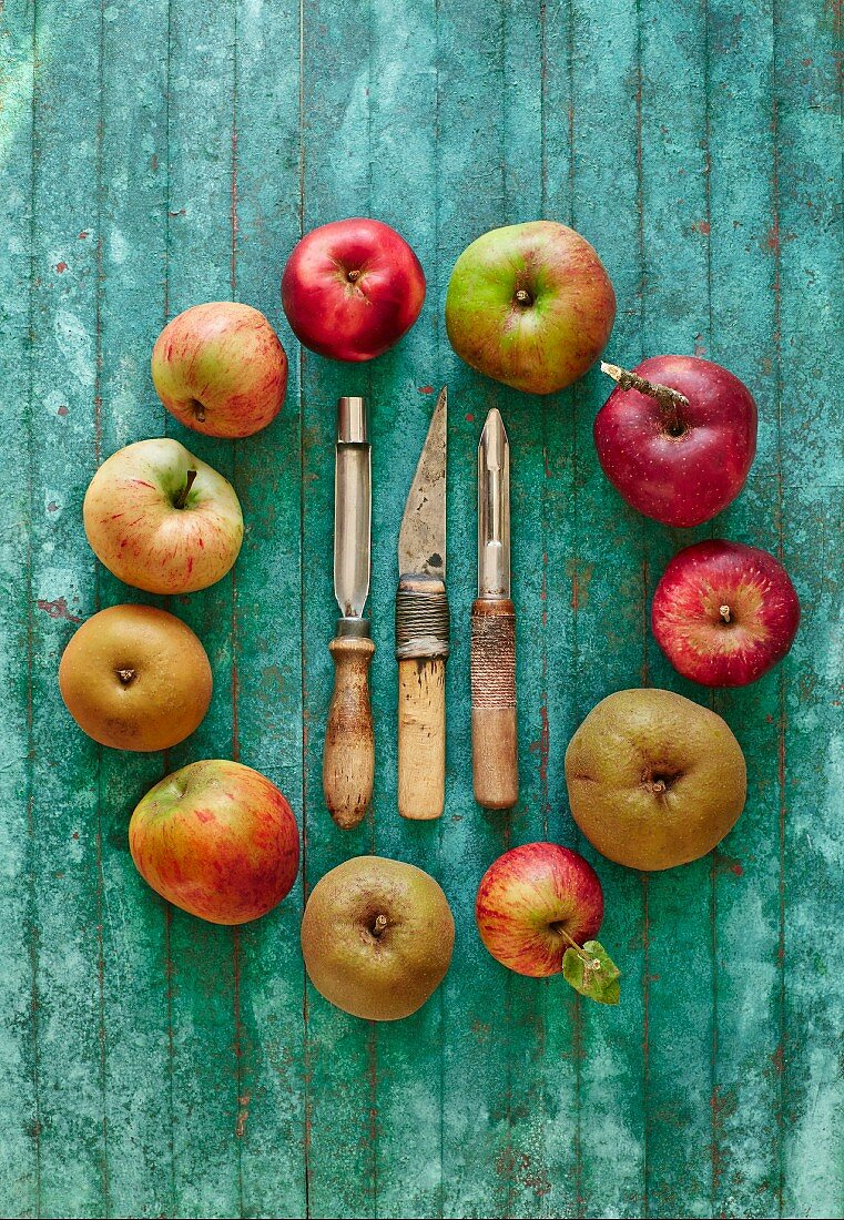 A ring of apples with old peelers