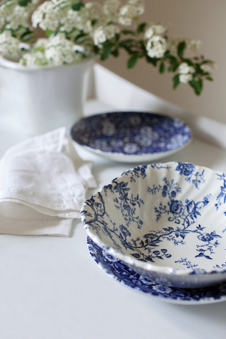 Blue-and-white crockery and white spring flowers