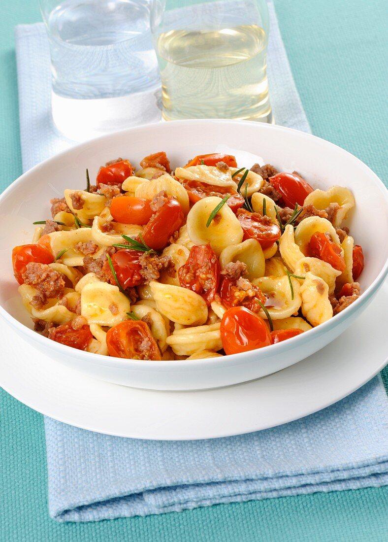 Orecchiette al sugo di salsiccia (orecchiette pasta with a salsiccia sauce, Italy)