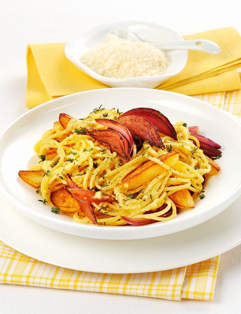 Maccheroni alla chitarra (egg pasta with vegetables, Italy)