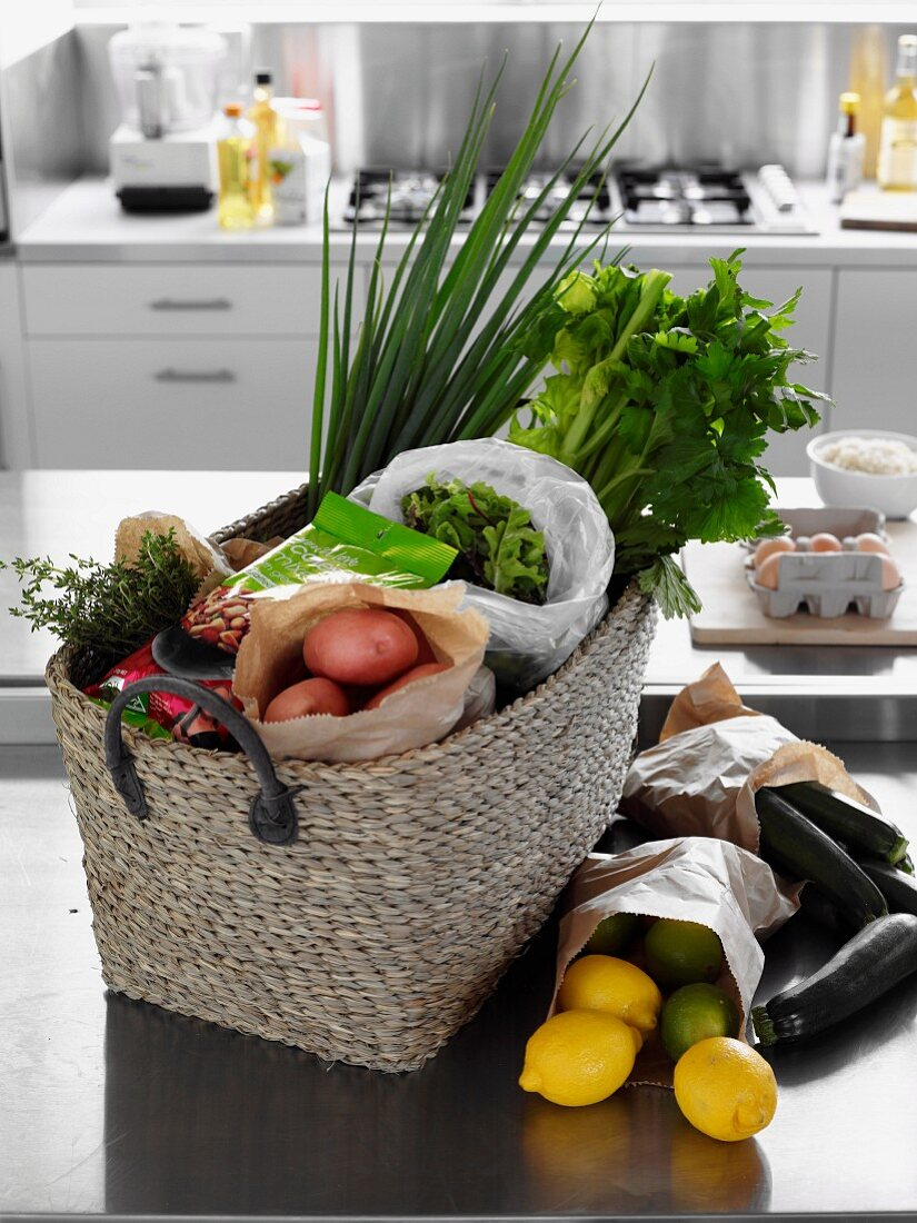 Shopping Basket of with fresh ingredients
