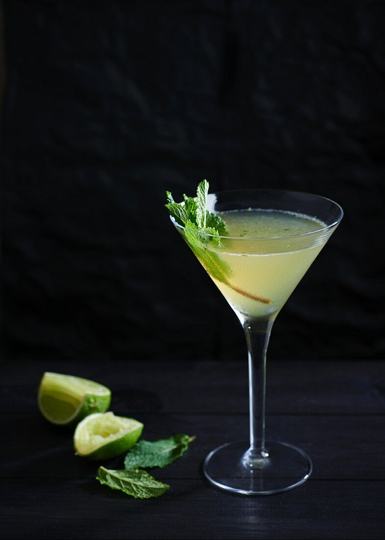 South Side cocktail made with gin, lime juice and mint