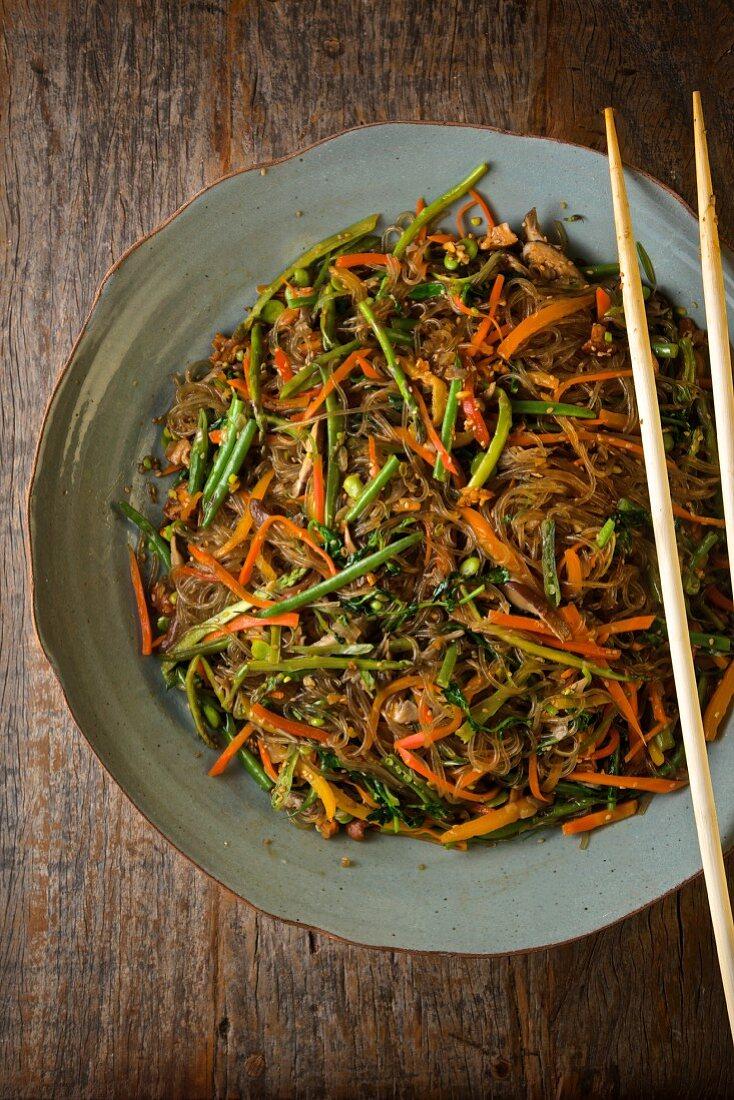 Japchae (glass noodles with vegetables, South Korea)