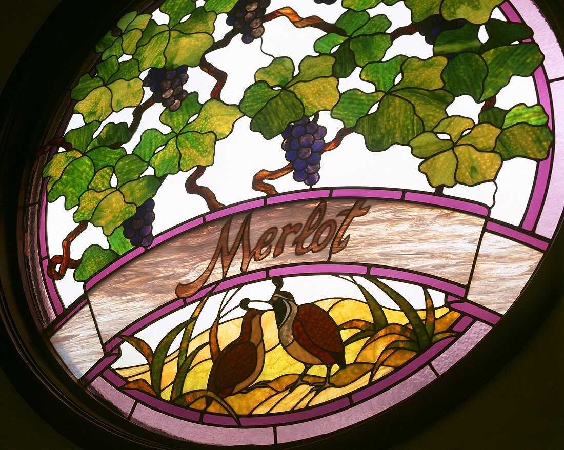 Merlot grapes in window of Columbia Winery, Washington, USA