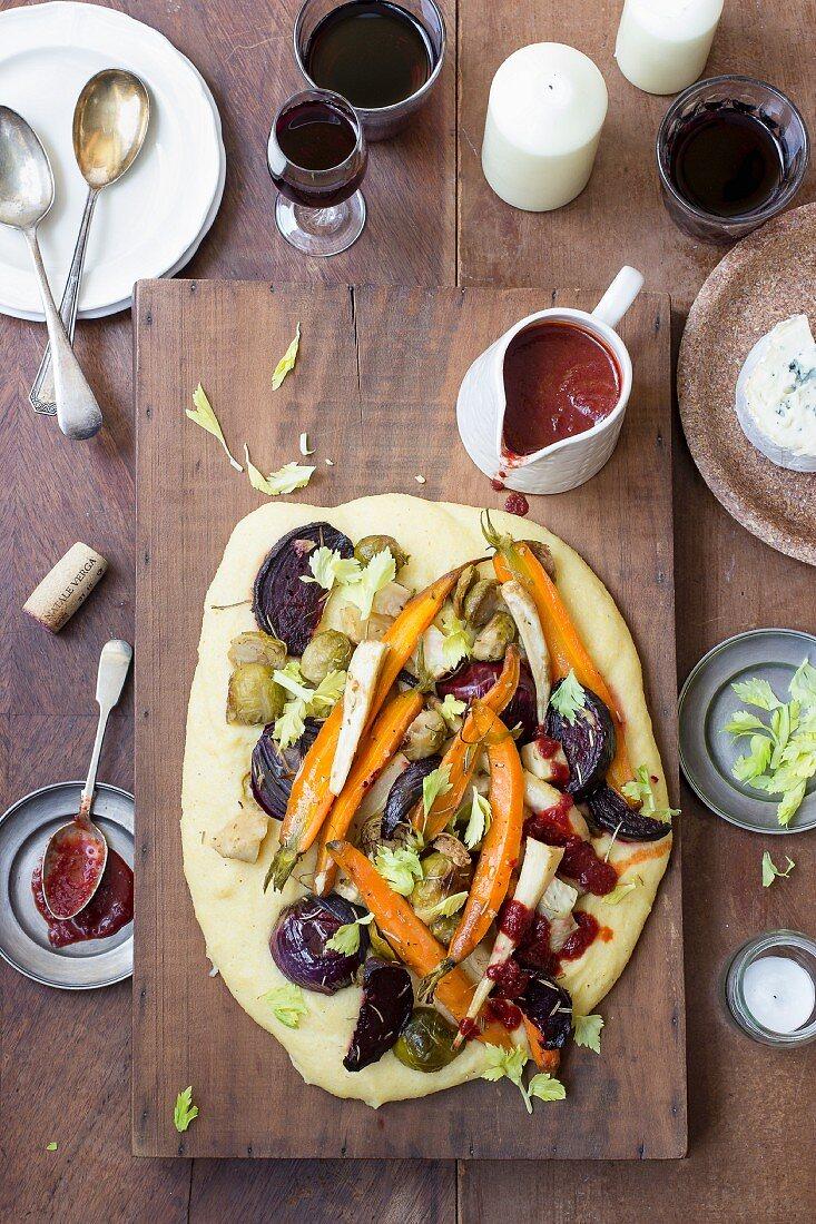 Polenta with oven-roasted vegetables