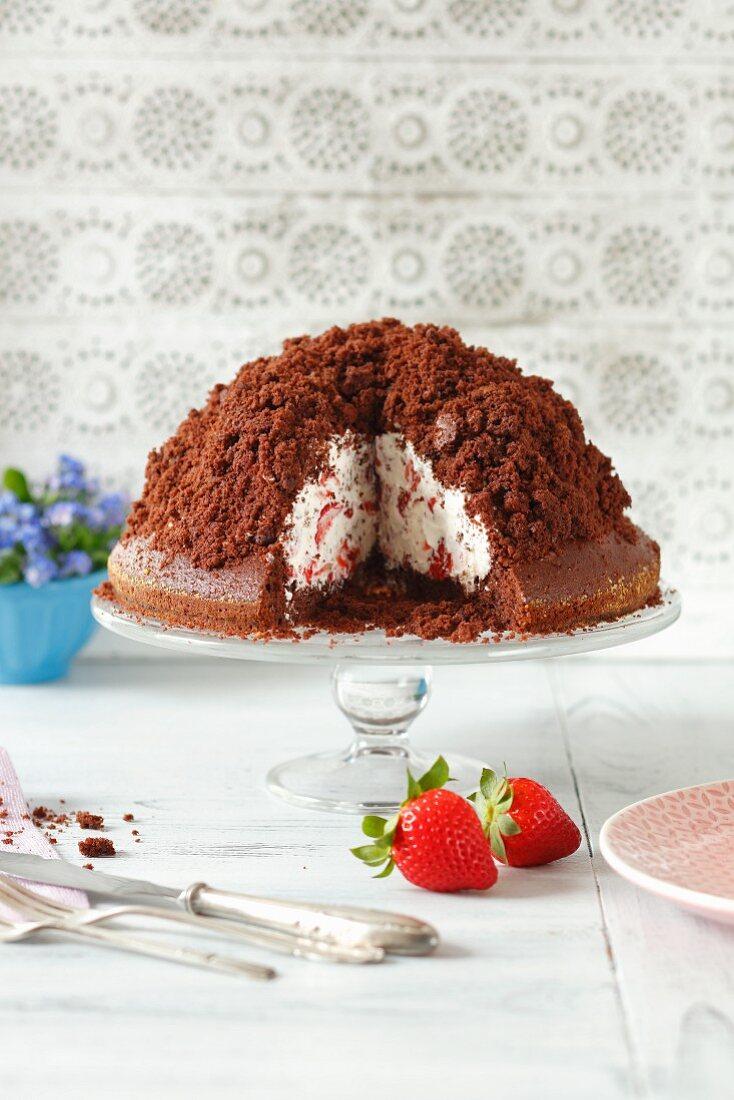 Maulwurfkuchen (chocolate cake with strawberries and whipped cream)