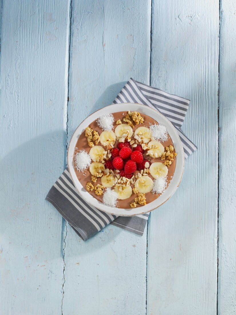 A chocolate, nut and banana smoothie bowl