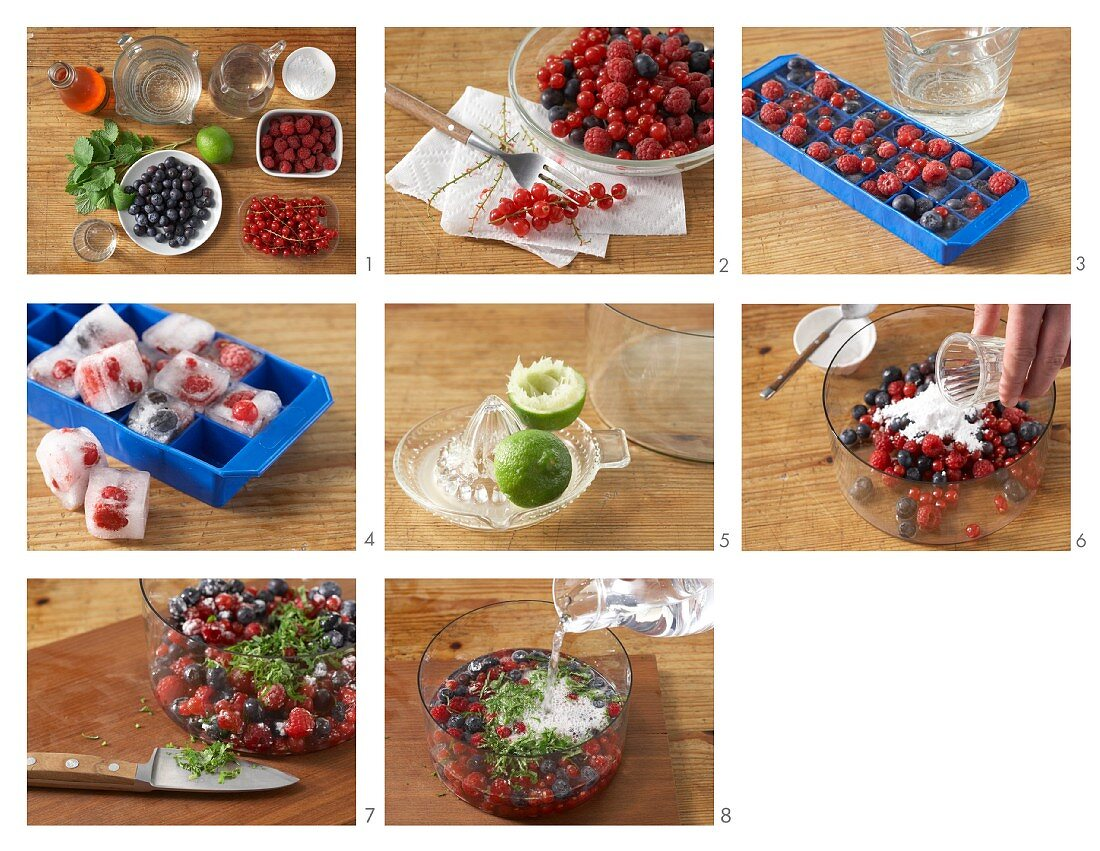 Summer berry punch with champagne and lime being made