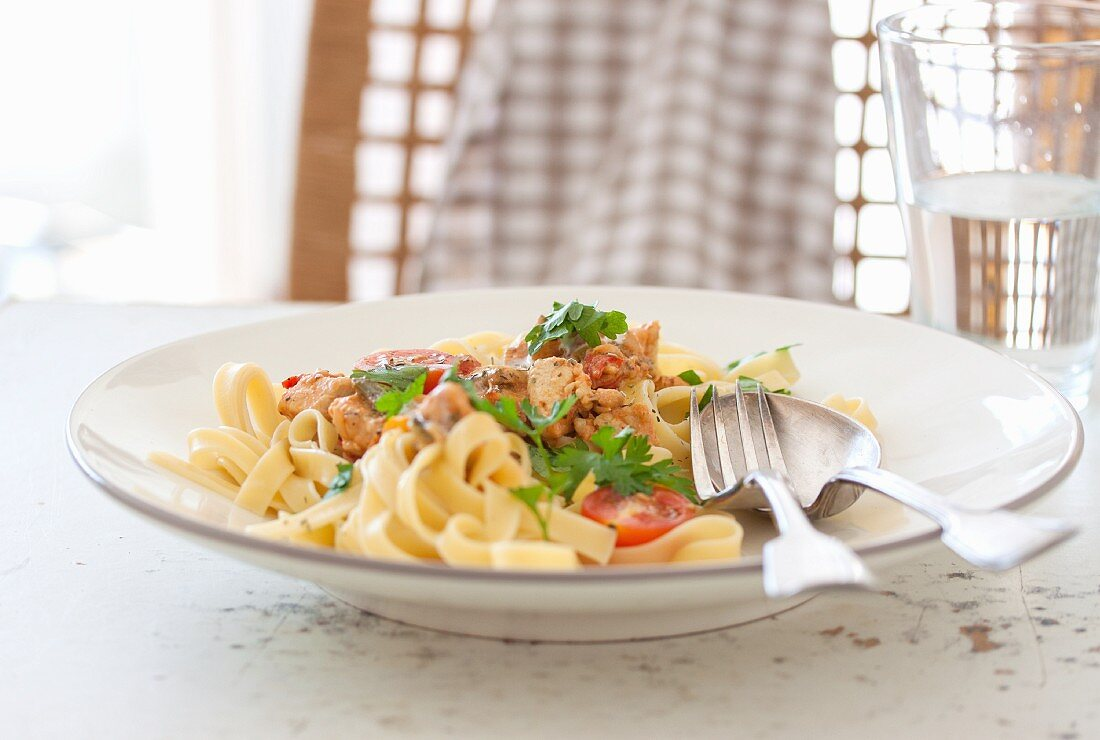 Chicken ragout with cream, tomatoes, Italian herbs and parsley on tagliatelle