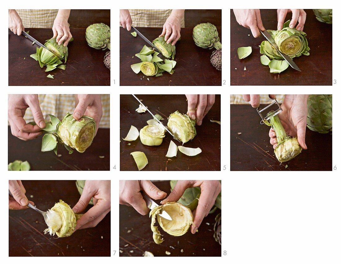 An artichoke being prepared