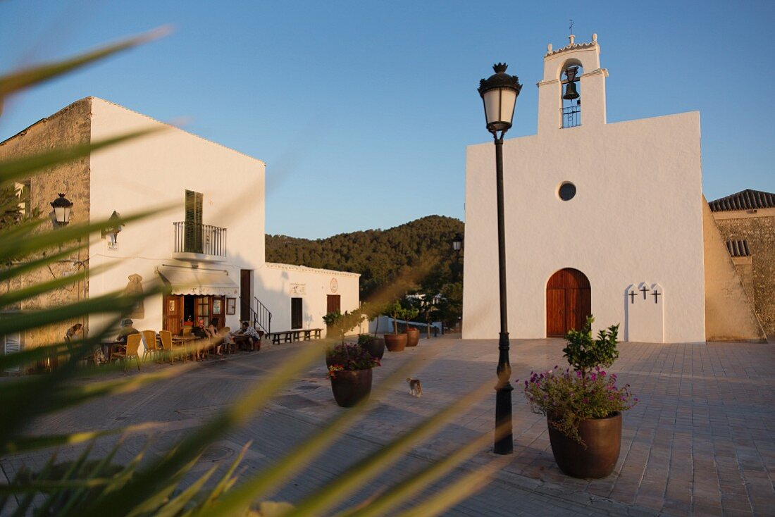 The church, village square and restaurant Can Berril Vell in San Agustin des Vedra (Ibiza, Spain)