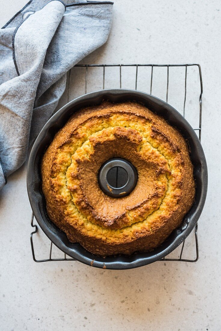 Olive oil Bundt cake in a baking tin