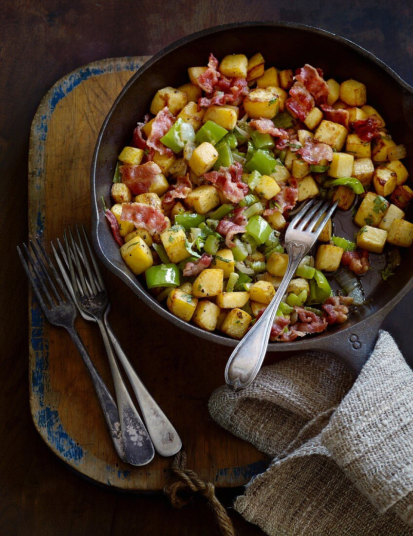 Pan-fried swede with bacon