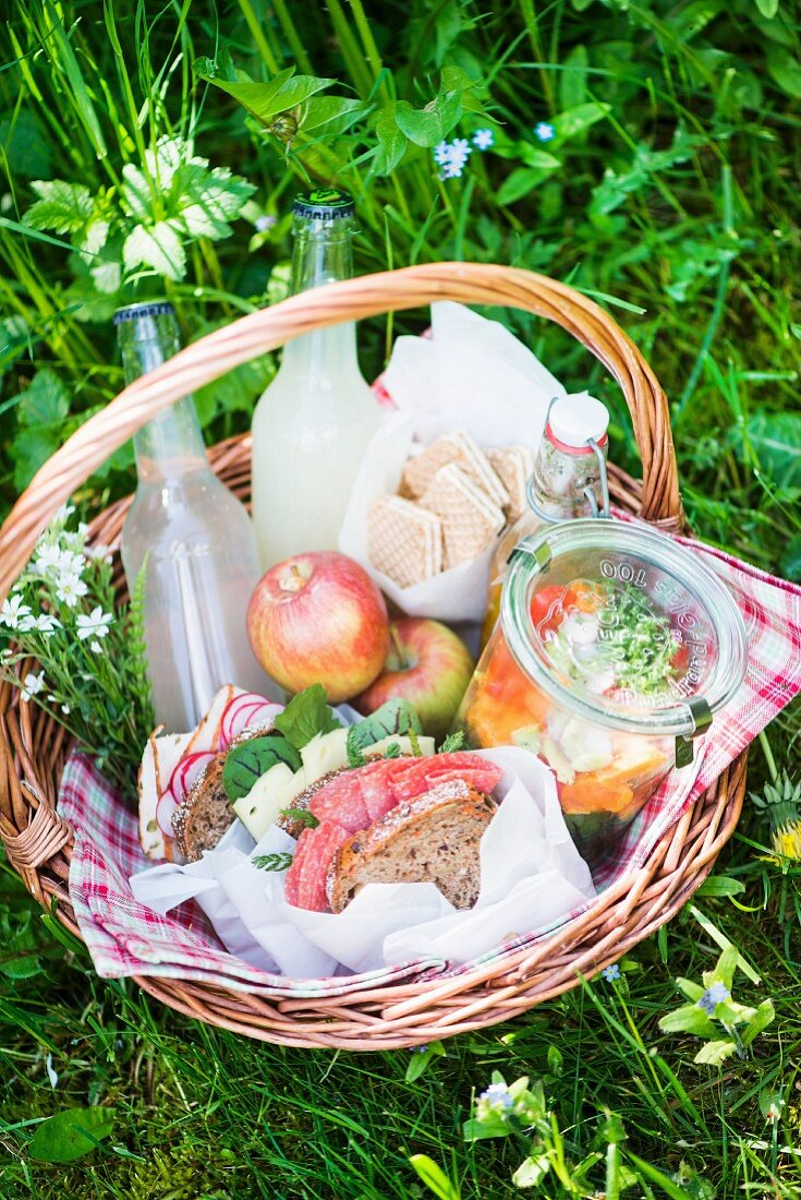 Picknickkorb mit Salamibrot, Salat, Limonade, Apfel und Keksen